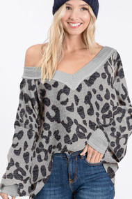 The Marci Top- Grey Leopard