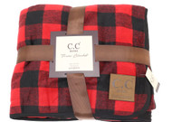 C.C. Buffalo Check Sherpa Throw Blanket- Red/Black