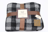 C.C. Buffalo Check Sherpa Throw Blanket- Grey/Black