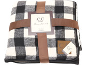 C.C. Buffalo Check Sherpa Throw Blanket- Black/Ivory