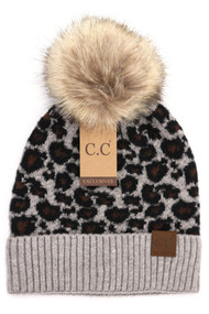 C.C. Animal Print Beanie- Grey