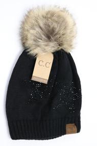 C.C. Rhinestone Star Fur Pom Pom Beanie-Black