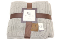C.C. Chunky Cable Knit Sherpa Blanket- Light Grey