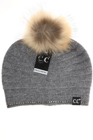C.C. Black Label Special Edition Rhinestone Beanie- Grey