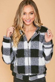 The Victoria Jacket- Black and White Buffalo Plaid