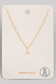 Initial A Dainty Necklace- Gold