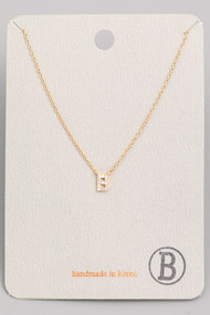 Initial B Dainty Necklace- Gold