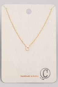 Initial C Dainty Necklace- Gold