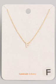 Initial F Dainty Necklace- Gold