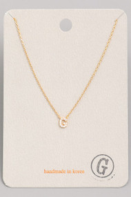 Initial G Dainty Necklace- Gold