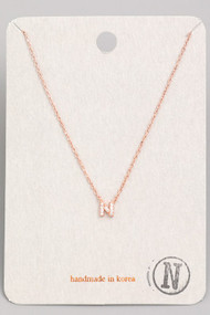 Initial N Dainty Necklace- Rose Gold