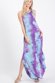The Jayla Dress- Teal and Purple