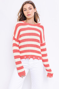 The Stephanie Sweater- Coral