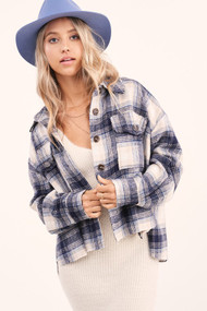 The Anne Flannel Shirt Jacket- Navy