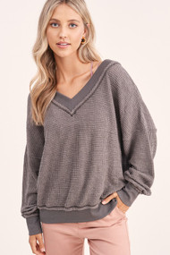 The Holly V-Neck Top- Charcoal