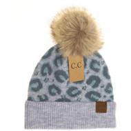 C.C. Leopard Print Beanie- Ice Blue