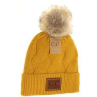 C.C. Geometric Knit Beanie- Mustard