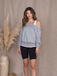 The Malibu Sweatshirt- Heather Grey