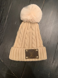 LV Re-Purposed Patch Beanie-Ivory