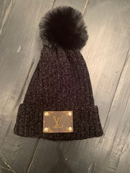 LV Re-Purposed Patch Beanie- Black