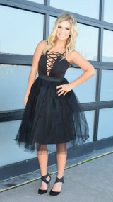 Rare London Black Lace Up Plunge Tutu Dress