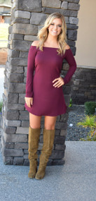 The Holly Off the Shoulder Wine Dress