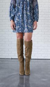 Free People Liberty Taupe Over The Knee Boot