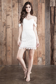 J.O.A Cold Shoulder White Dress