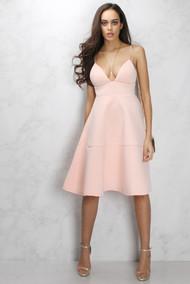 Rare London Dusky Pink Midi Flare Swing Dress