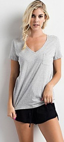Heather V Neck Tee-Grey