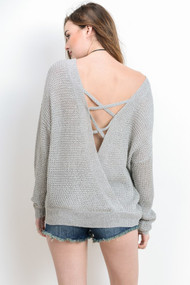The Kara Knit Top- White/Grey Combo