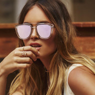 Quay Australia French Kiss- Clear/ Rose Gold Mirrored
