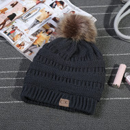 C.C. Beanie with Fur Pom Pom-Charcoal