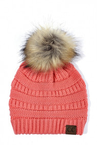 C.C. Beanie with Fur Pom Pom- Coral