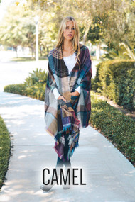The Julia Plaid Poncho Scarf