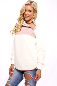 The Delaney Top- White & Pink