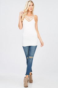 The Sofie Reversible Tank- Ivory