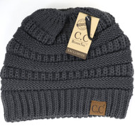 C.C. Messy Bun Beanie- Dark Grey