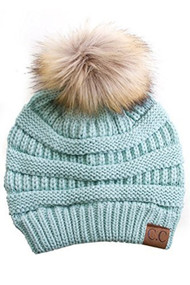 C.C. Beanie with Fur Pom Pom- Mint