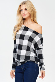 The Naomi Top- White & Black Buffalo Plaid