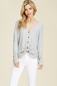 The Dylan Top- Heather Grey