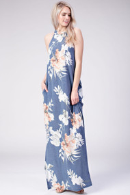 The Ellie Floral Maxi-Blue