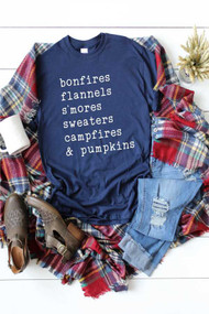 Bonfires & Pumpkin Tee- Navy