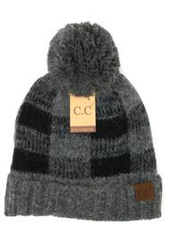 C.C. Buffalo Print Fuzzy lined Beanie- Grey/BLK