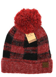 C.C. Buffalo Print Fuzzy lined Beanie- RED/BLK