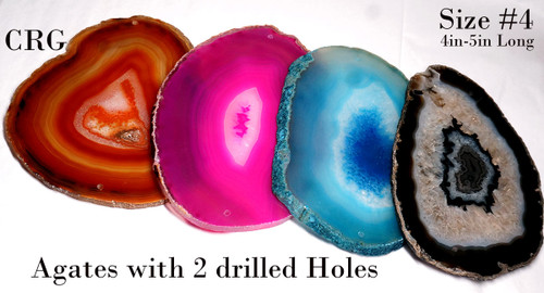 "Agate Slices with 2 Drilled Holes 4 ""- 4.5 "" Size #4"