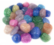 Dyed Crackle Quartz Tumbled Gemstones 1LB