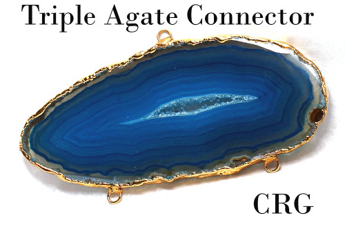Gold Plated Agate (3 links!) Connector