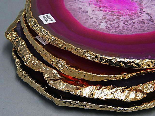 #3 Gold Plated Agate Coaster with Cork Bottom Qty-1