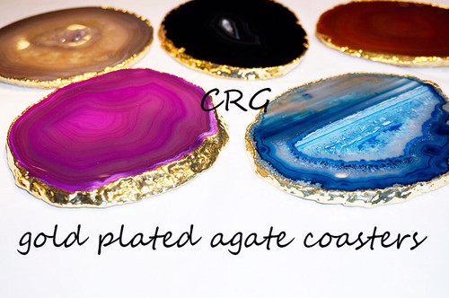#3 Gold Plated Agate Coaster NO CORK Qty-1